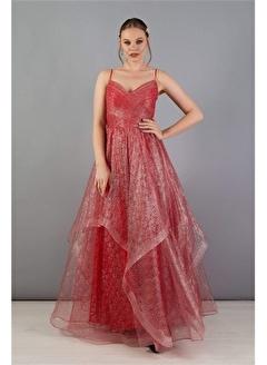 Carmen Carmen Kırmızı Tül Prenses Nişanlık Abiye Elbise